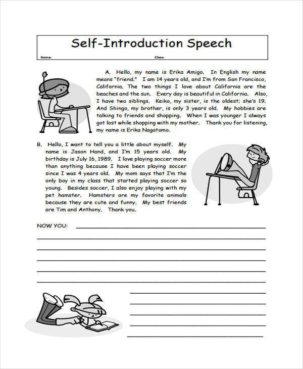 5 introduction speech exles sles