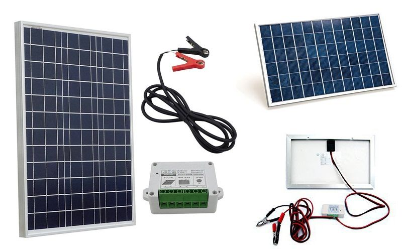 Small Solar Panel Kits Eco Worthy 10w 20w And 50w Solar Kits With Charge Controller And Battery Clips For Ev Small Solar Panels Solar Panel Kits Solar Panels