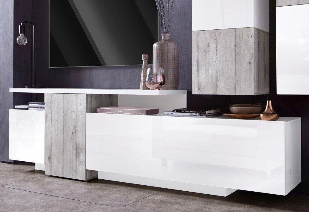 TECNOS XXL-Lowboard weiß, Hochglanz, FSC®-zertifiziert Jetzt - wohnzimmer weis hochglanz