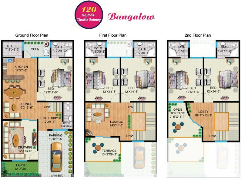 Rainbow sweet homes 120 sq yards double storey House map drawing images
