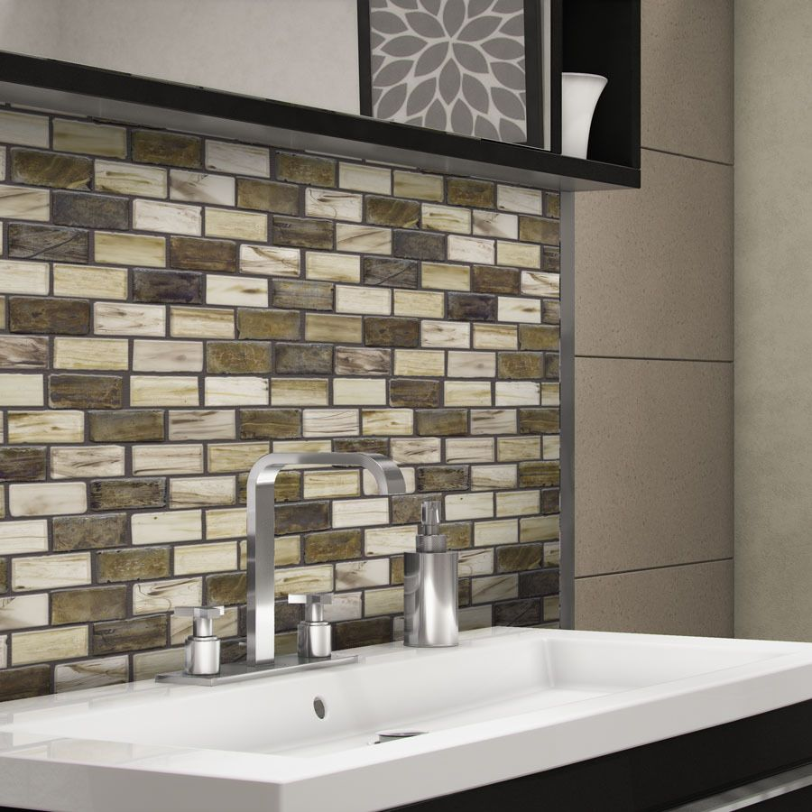 Shop elida ceramica melted earth beige glass mosaic subway indoor shop elida ceramica melted earth beige glass mosaic subway indooroutdoor wall tile common dailygadgetfo Choice Image