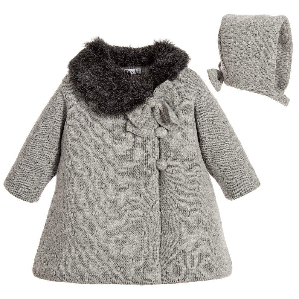 a209d6225 Mebi - Baby Girls Grey Knitted Pram Coat   Bonnet Set