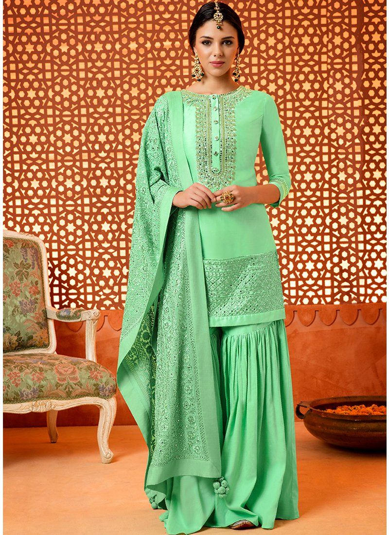 9ed91acf62 Mint Green Embroidered Pure Silk Gharara Suit | Designer DRESSES ...