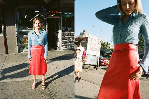 Red + Turquoise | A LINE SKIRT, REDPINK