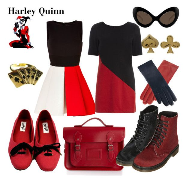 """""""Harley Quinn"""" by wonderlandofgeeks ❤ liked on Polyvore featuring FAUSTO PUGLISI, Marc by Marc Jacobs, Dorothy Perkins, P.A.R.O.S.H., ASOS, The Cambridge Satchel Company, Topshop, Ladyboy, batman and Dccomics"""