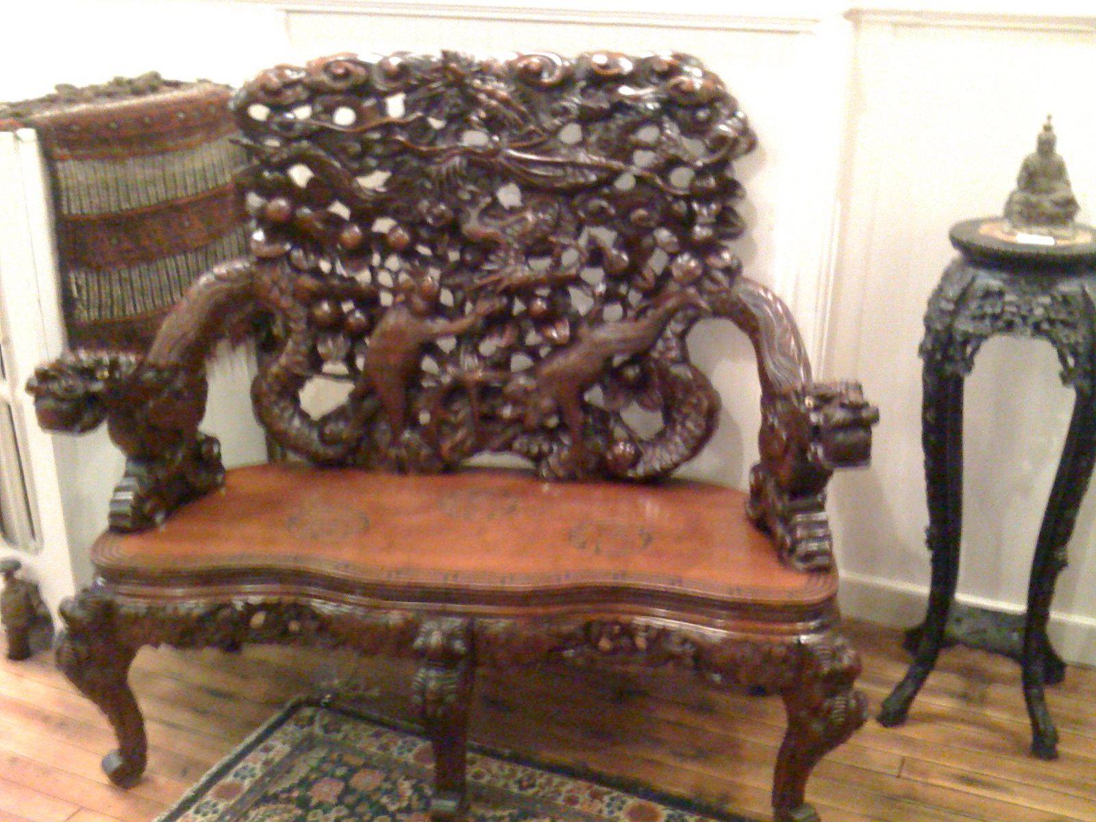 Japanese Meiji Period Export Carved Cherry Wood Bench For Sale