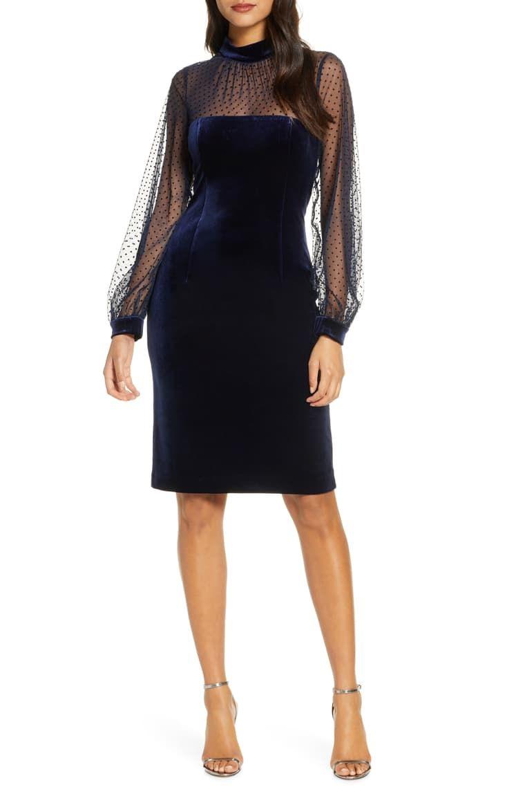 Eliza J Illusion Bodice Velvet Party Dress Nordstrom Party Dress Classy Velvet Party Dress Pretty Blue Dress [ 1164 x 760 Pixel ]