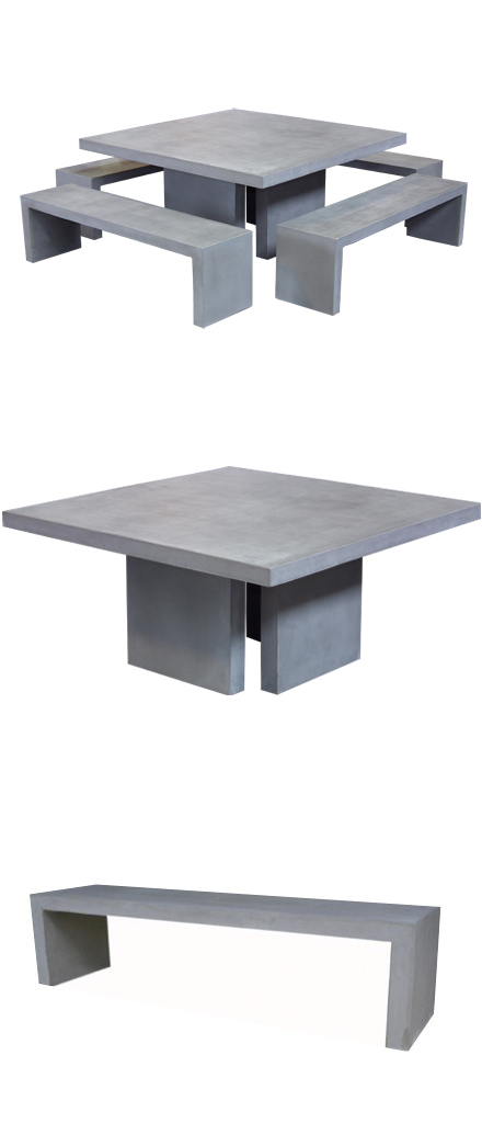 A Square Concrete Table And Bench Set Adds Elegance To Outdoor Living. Raw  Concrete Is