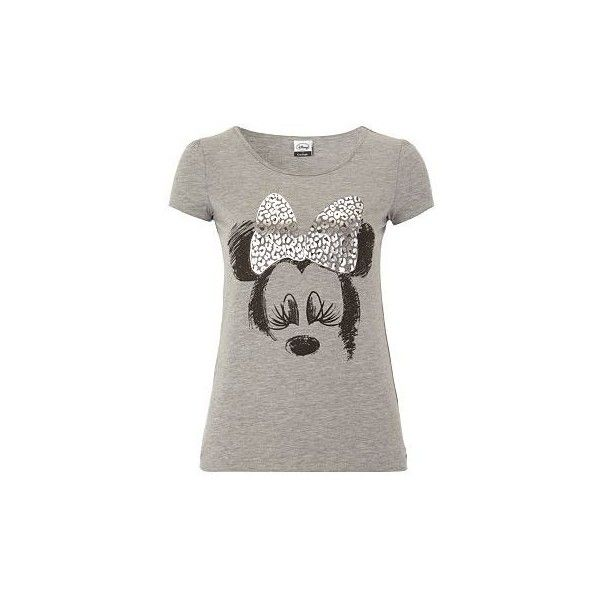 Minnie Mouse Foil T-Shirt Women George at Asda ($6.06) ❤ liked on Polyvore