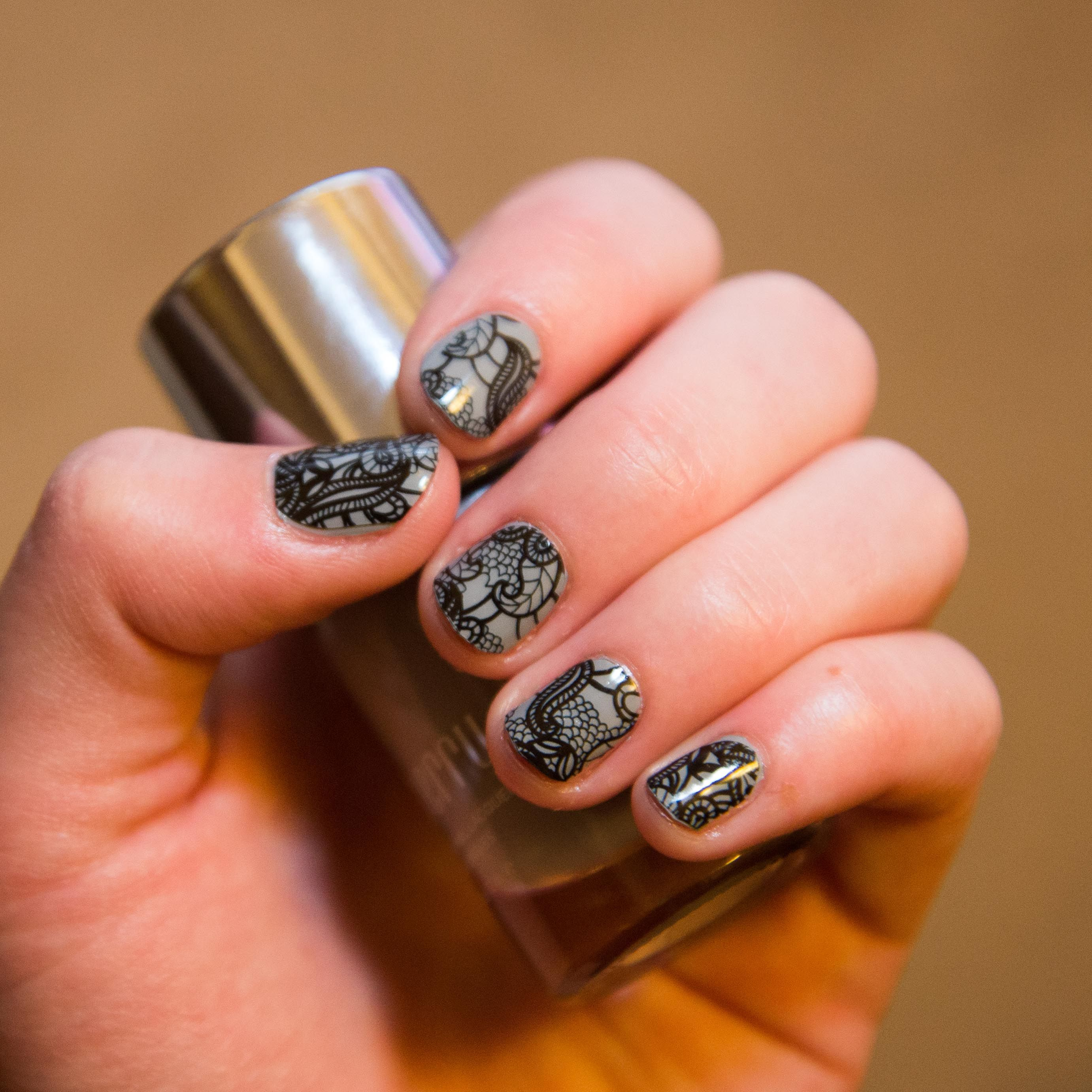 Clear Black Lace nail wraps over Ash lacquer! This is one of my new ...
