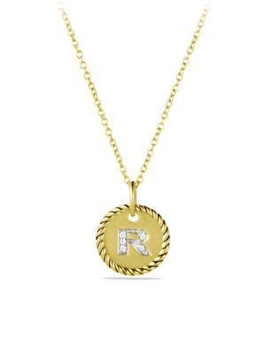 David yurman initial pendant with diamonds in gold on chain david yurman initial pendant with diamonds in gold on chain aloadofball Choice Image