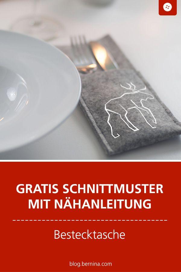 Nähanleitung: Festliche Bestecktaschen aus Filz (mit Gratis Plotterdatei)