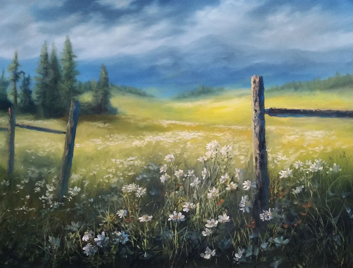 Flower meadow oil painting by kevin hill watch short oil for Oil or acrylic