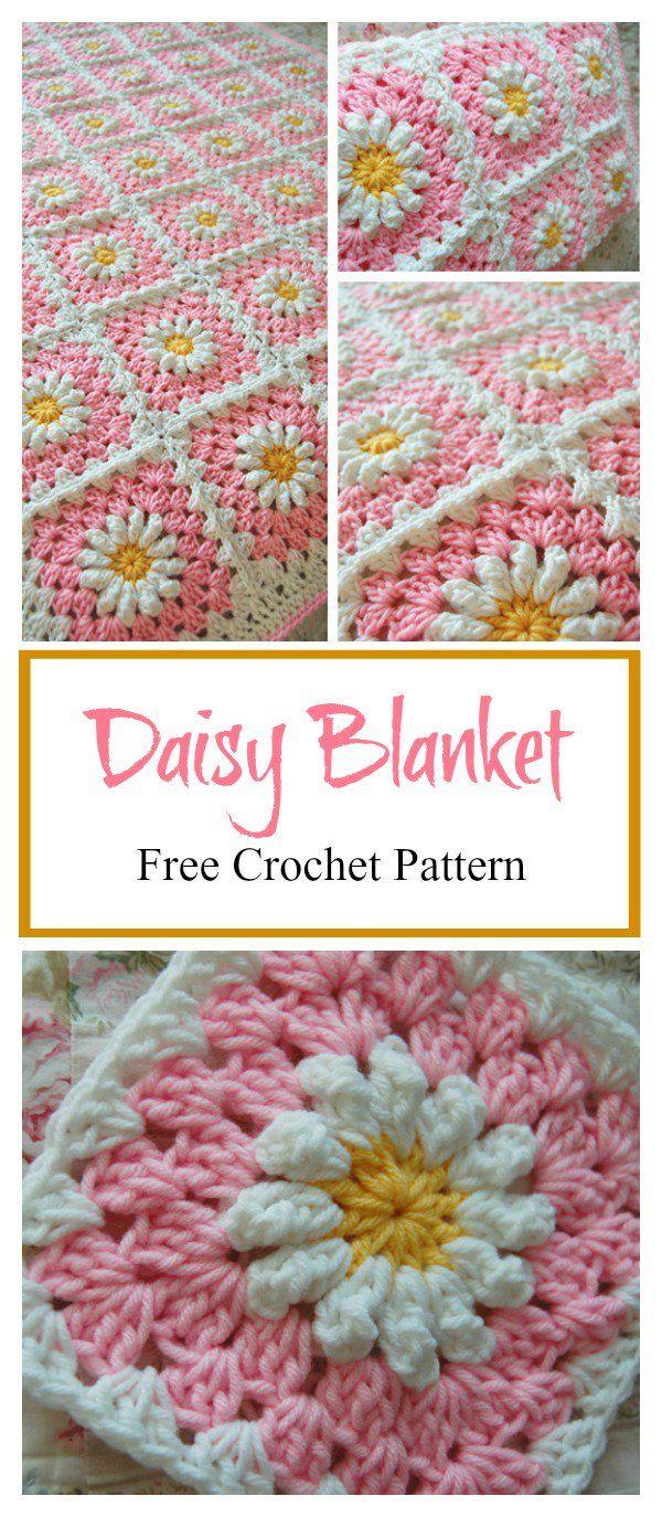 Daisy Granny Square Baby Blanket Free Crochet Pattern   crochet ...