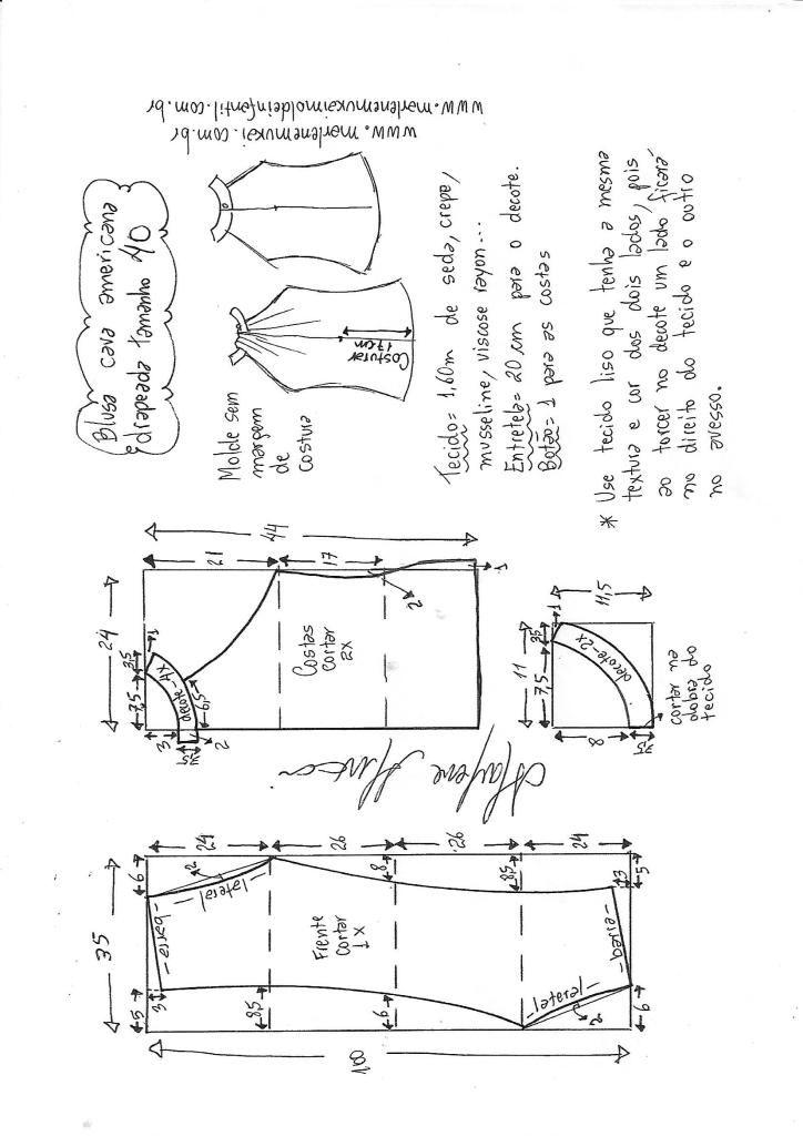 Blusa cava americana drapeada | DIY - molde, corte e costura ...