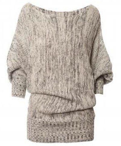 da6fd0318c Chic Slash Collar 3 4 Batwing Sleeve Women s Sweater Sweaters   Cardigans