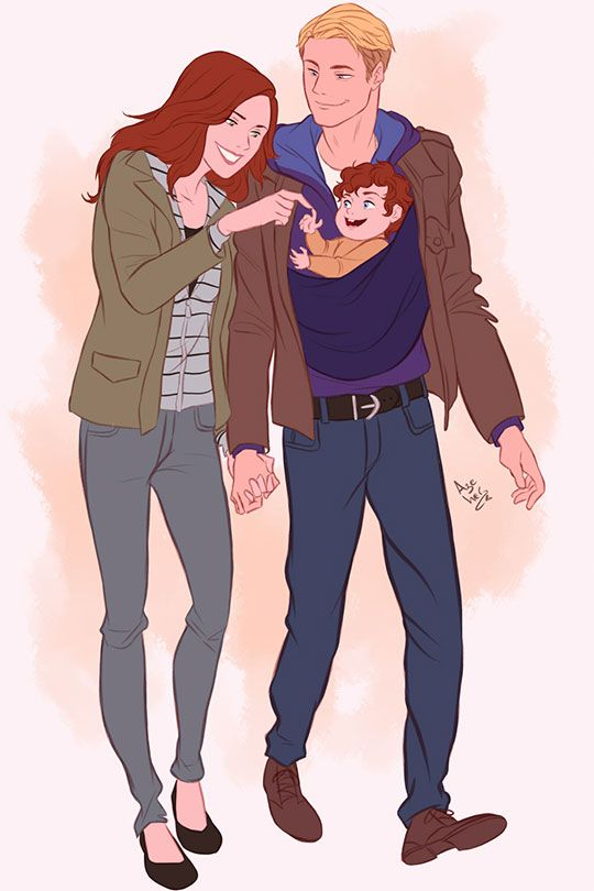"""""""Next Avengers"""" storyline: Natasha, Steve, and their son James. Love this!! Natasha and Steve get married and have a son in the comics. I know that in AoU she says that she can't have kids, but I still want them to be a couple!!!"""
