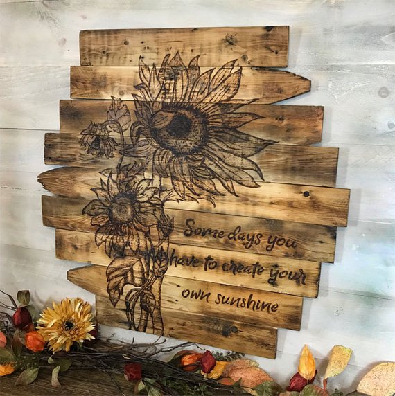Sunflower Wall Decor Wood Sign Wall Art Rustic Farmhouse Home