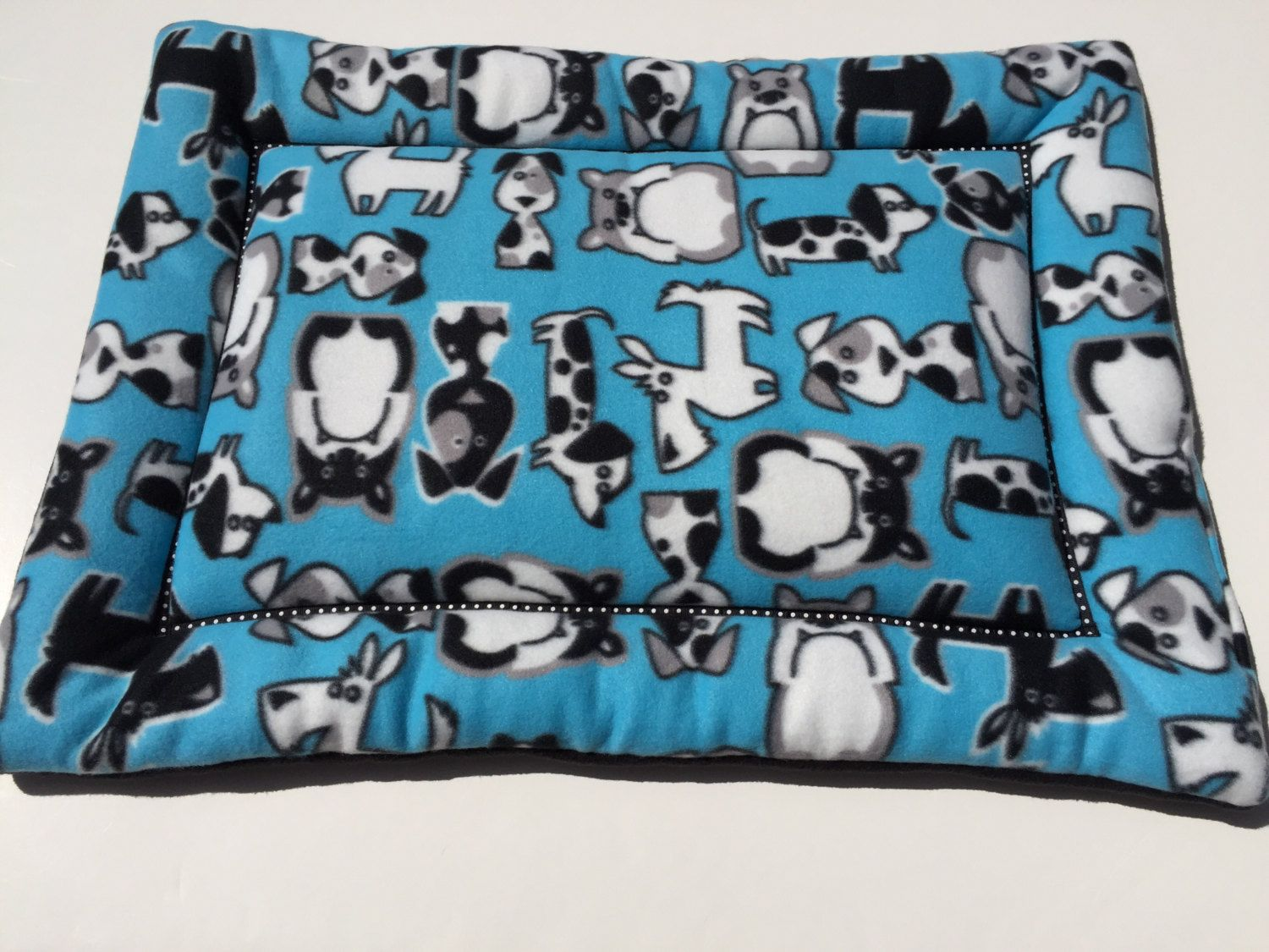 Blue Dog Bed, Pet Beds, Plush Pet Mat, Fleece Dog Bed, Dog
