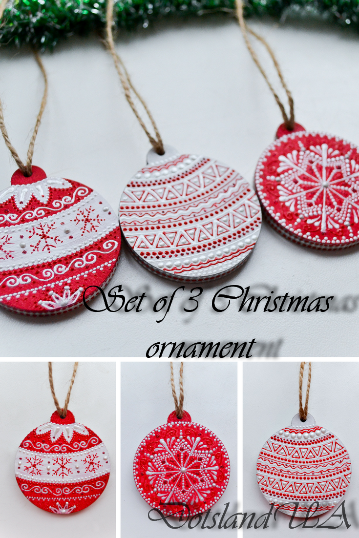 Set Of 3 Christmas Wooden Hand Painted Ornament Wooden Hand Painted Christmas Balls W Painted Christmas Ornaments Christmas Ornaments Red Xmas Decorations