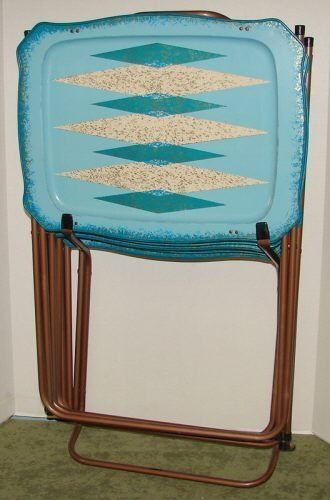 Delightful Vintage Cal DAK Retro Mid Century Modern TV Tray Tables In Box Sold For $275