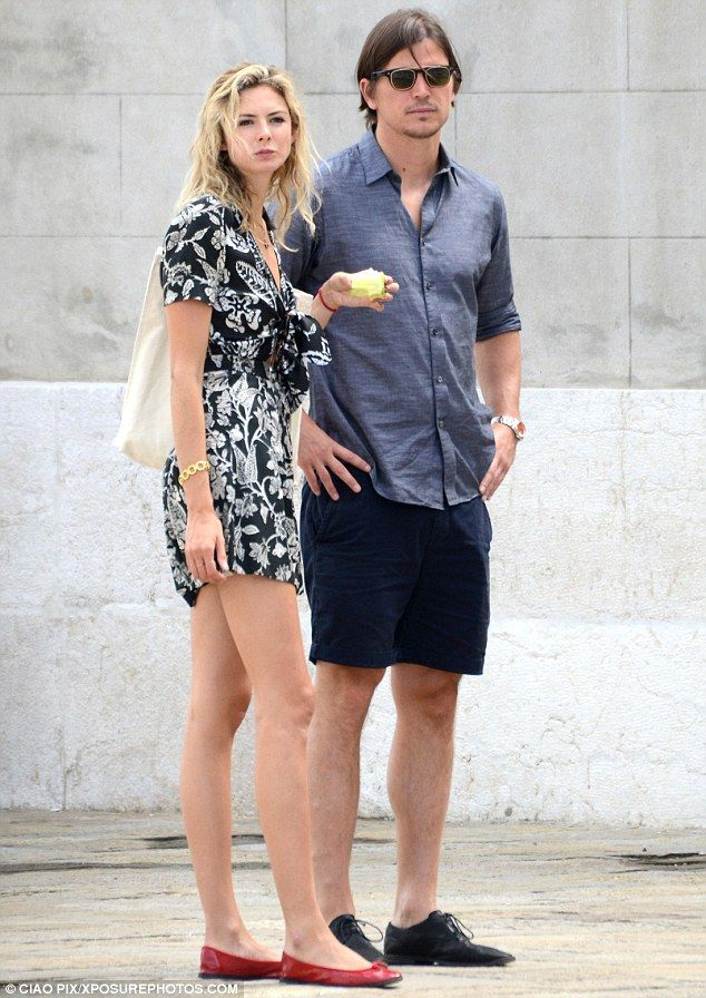 Healthy eating: The 25-year-old beauty opted for a black and white floral minidress as they took in the sights of the Italian city during a romantic break