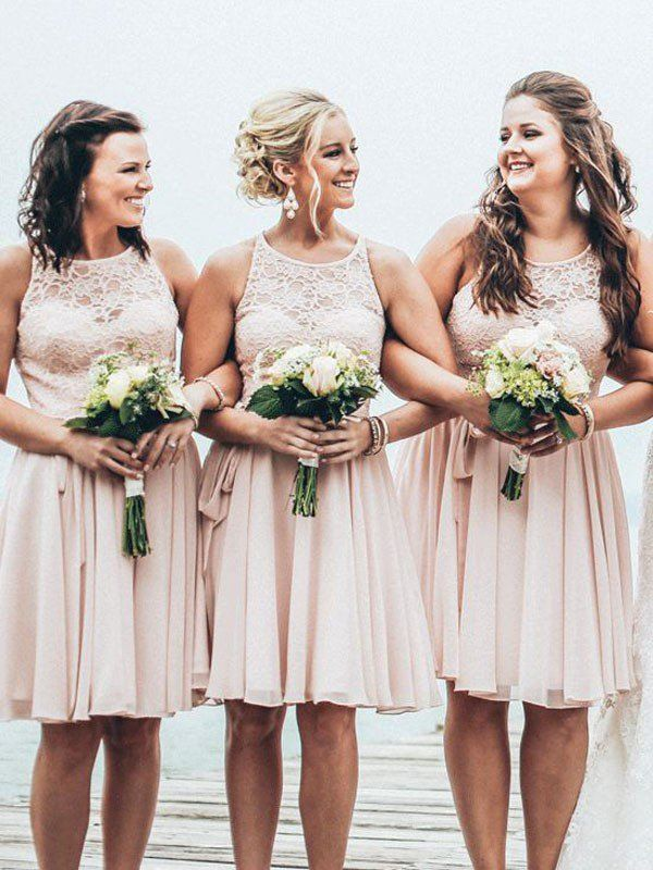 Short Bridesmaid Dress Dusty Pink Lace Summer Beach Wedding Party Dresses Pd210501
