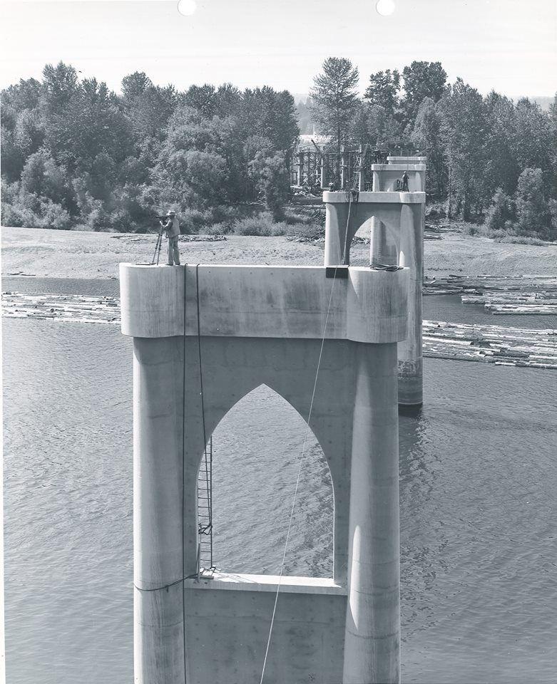 The Marion Street Bridge in Salem, seen under construction