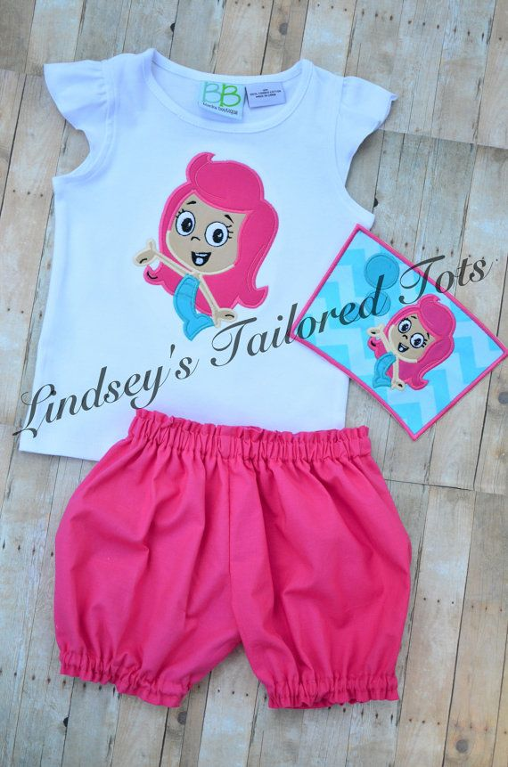 Bubble Guppy set appliquéd shirt & by LindseysTailoredTots on Etsy, $40.00