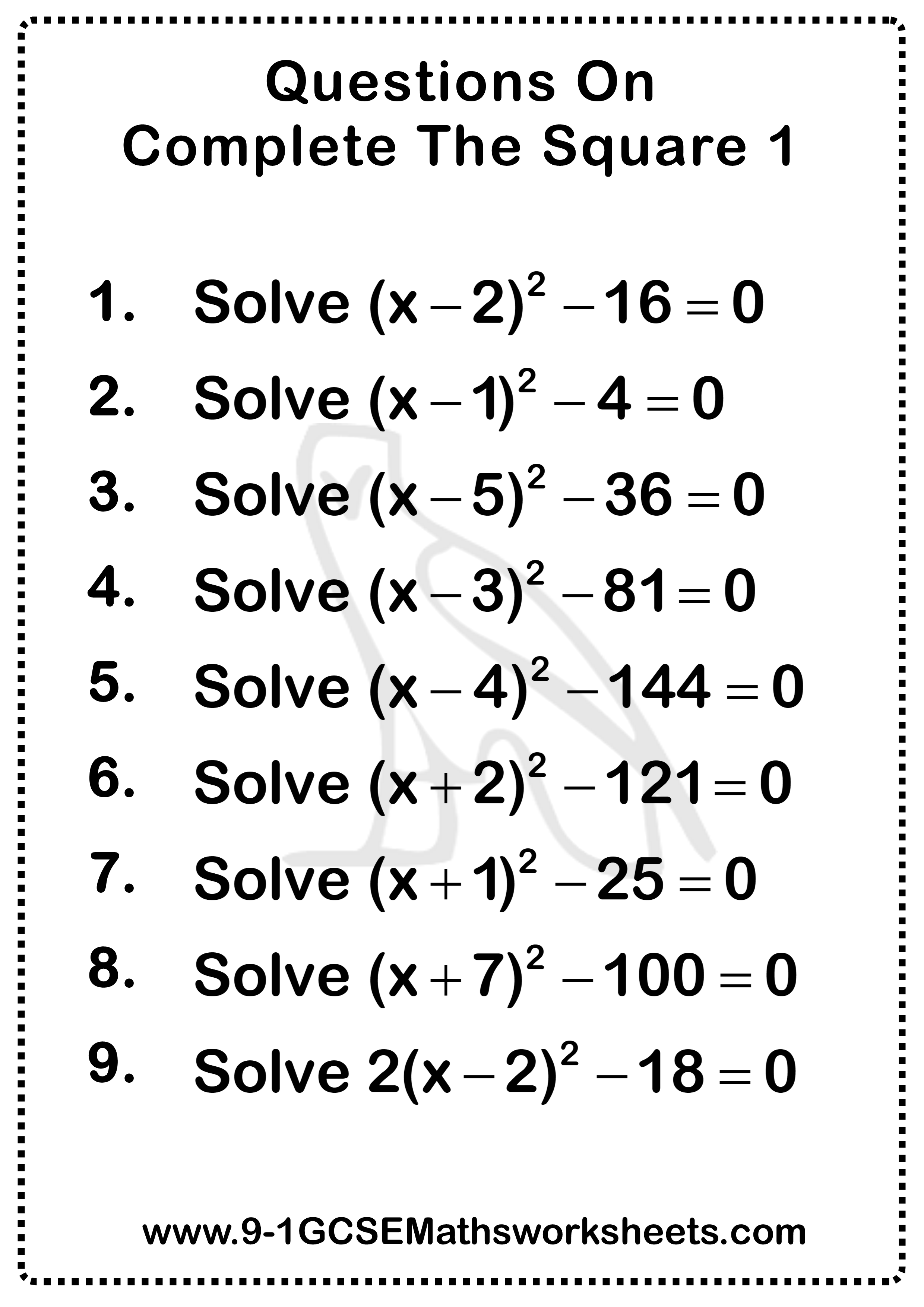 Completing The Square Questions 1 In