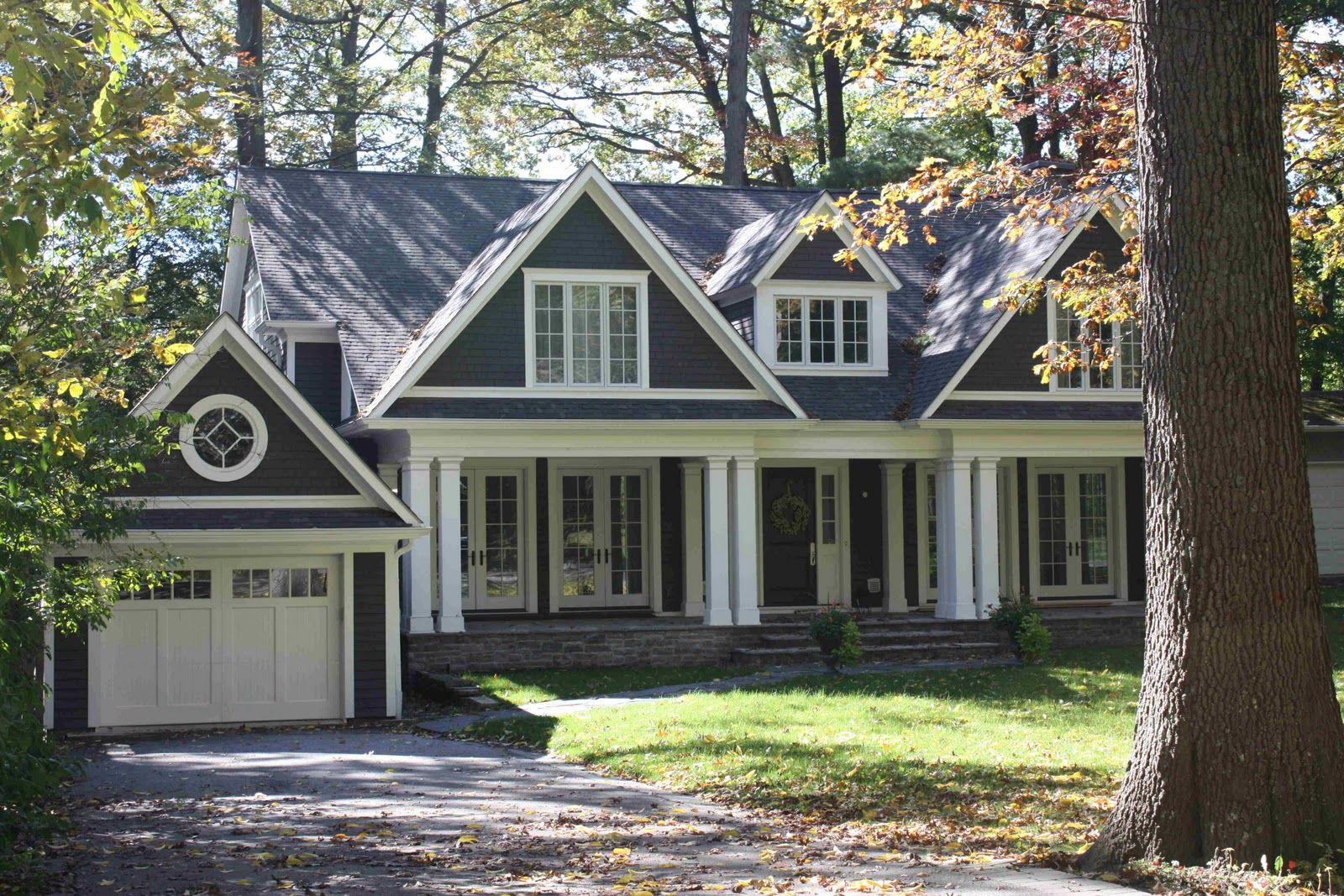 Charcoal Gray Home Exterior White Trim Carriage Garage Doors Home Exteriors Pinterest