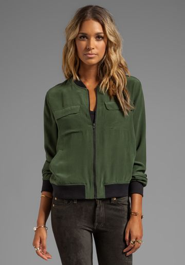 EQUIPMENT Abbot Bomber in Dark Army | Outerwear fashion ...