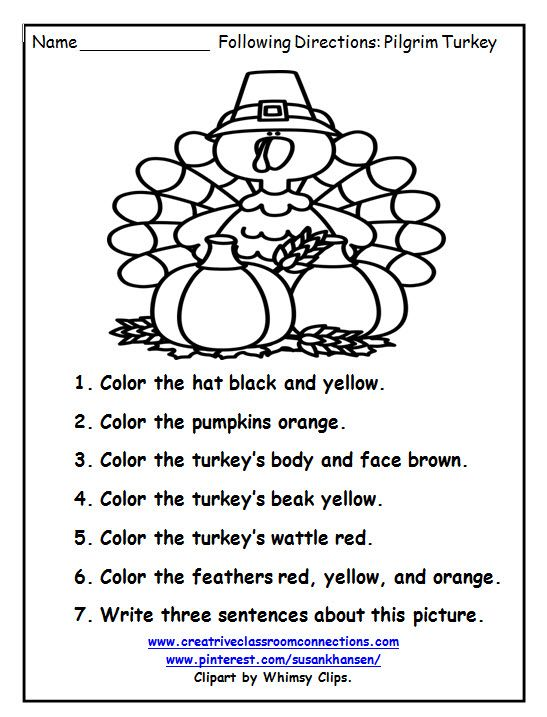 This Free Turkey Worksheet Provides Fun For Students To Write And Follow Directions Thanksgiving Worksheets Thanksgiving Math Worksheets Thanksgiving Preschool