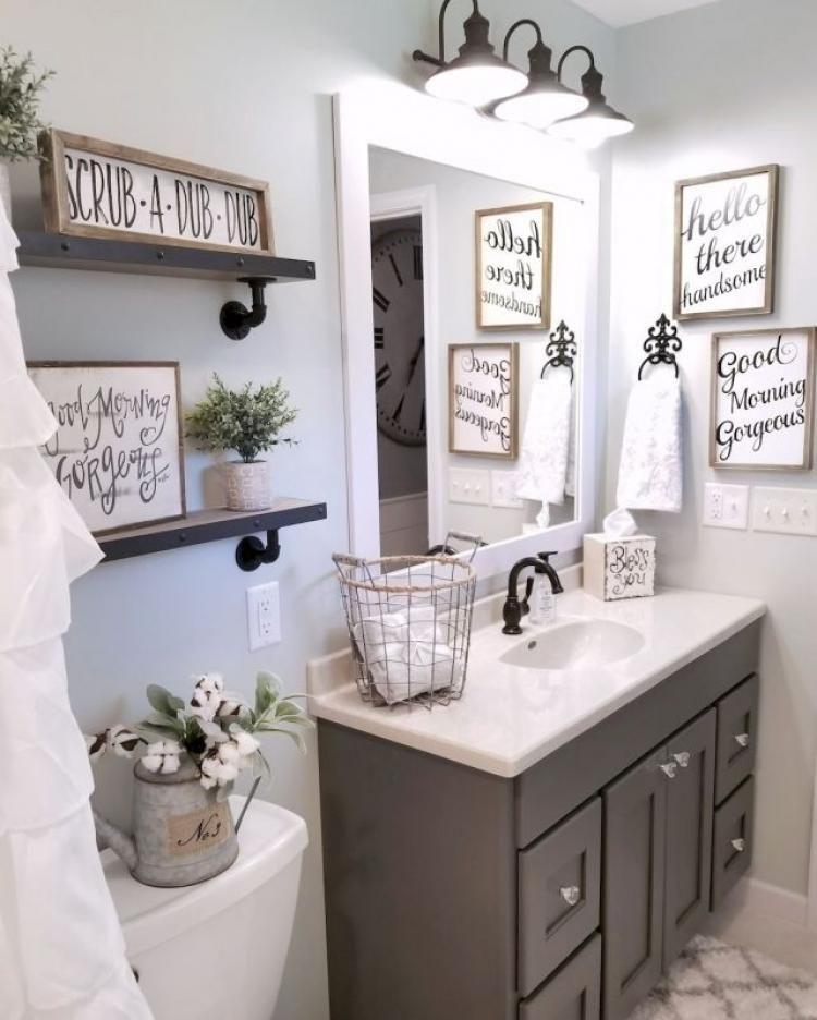 Beautiful Bathroom Shelves And Organization Ideas Farmhouse Bathroom Decor Farmhouse Master Bathroom Bathroom Decor