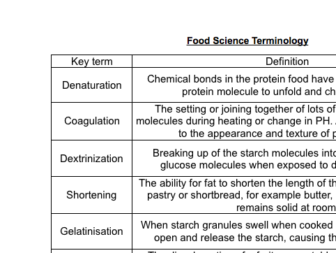 Food Science Glossary activity | school stuff in 2019 | Food