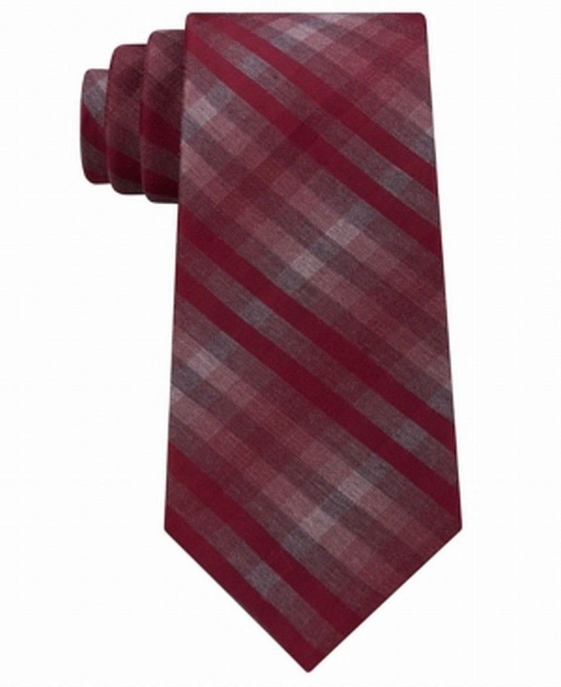 Kenneth Cole Reaction Modern Classic Check Slim Tie OS Burgundy