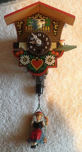 Vintage Trenkle Mini Cukoo Clock From West Germany Woman On Swing