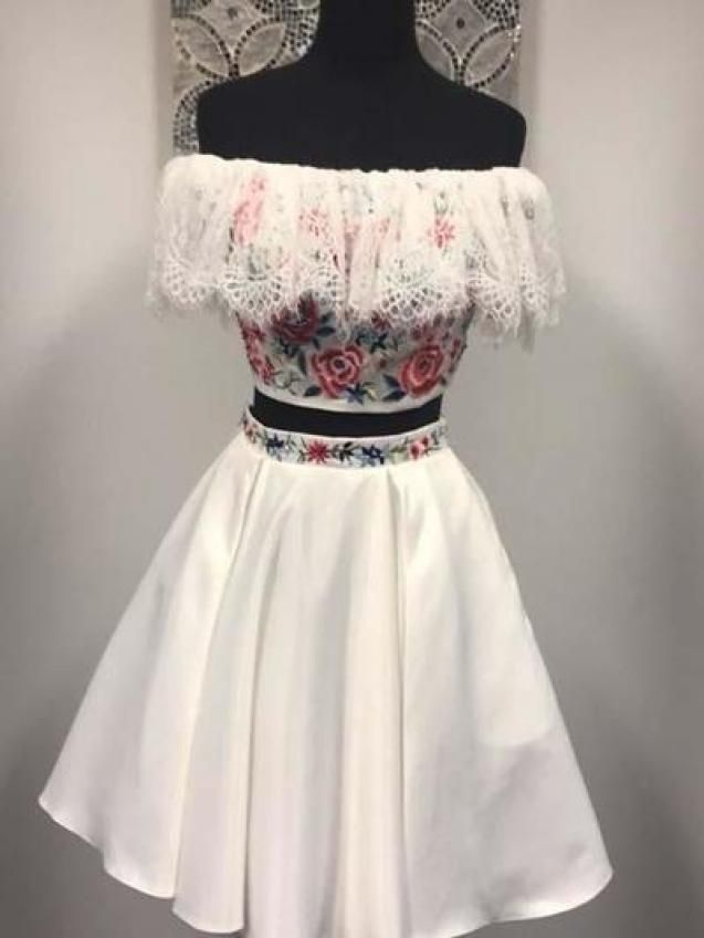 Photo of two piece white off the shoulder strapless homecoming dressapplique lace satin s…