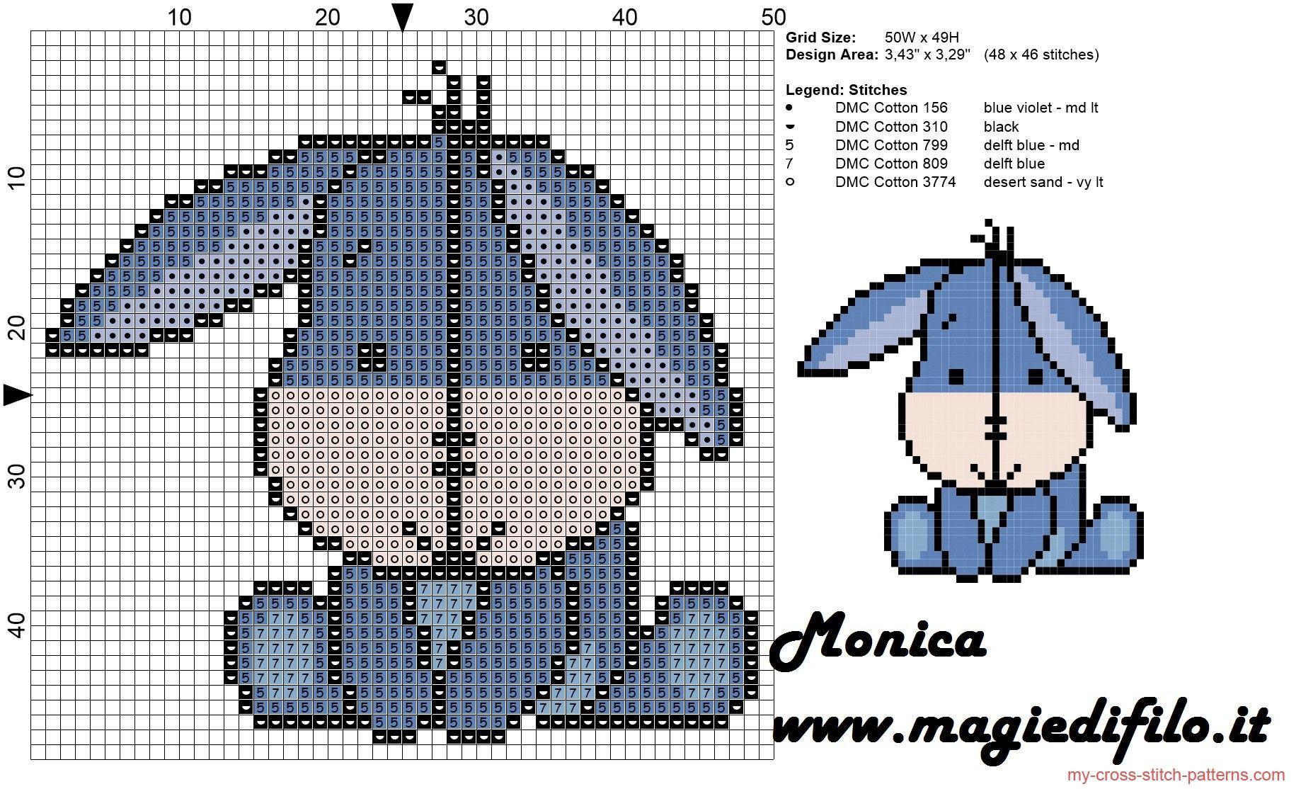 Eeyore cross stitch pattern - free cross stitch patterns simple
