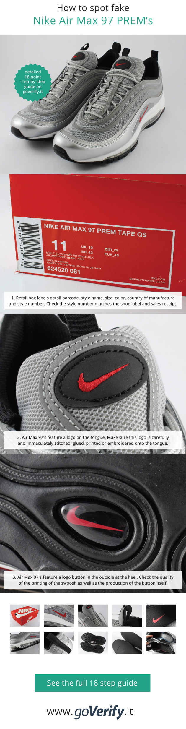 a13eaaf370d How to spot fake Nike Air Max 97's, go to www.goverify.it for a full ...
