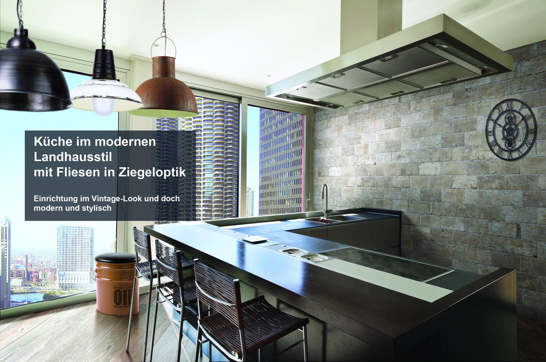 Faszinierend Küche Vintage Ideen Von Look Shabby Style Fliese Ziegeloptik Wandfliese Küche