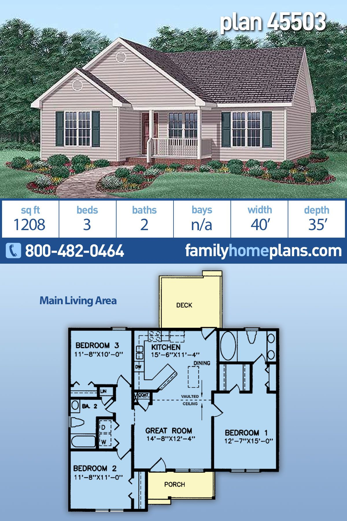 """A popular small house plan with three bedrooms and just over 1200 sq ft. A transitional """"split bedroom"""" design, this plan offers economy of construction along with timeless grace. Just inside the welcoming front porch lies the spacious Great Room and Kitchen/Dining areas with a dramatic vaulted ceiling. Other notable features of this plan: Rear grilling deck, economic design for affordable home construction, great use of space. Small floor plan, cost effective home. #smallhouseplans #smallhome"""
