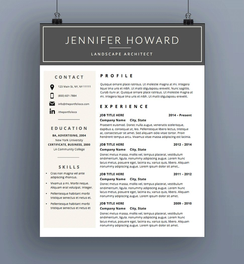 Resume Template CV Template Cover Letter by ThePortfolioCompany ...