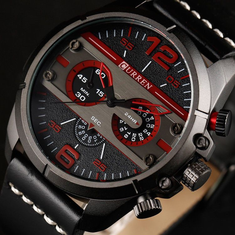 e24392eb05d718 Curren 8259 Men's Army Military Watch Sport Watch Leather Strap Water  Resistant Luxury Watches, Men's