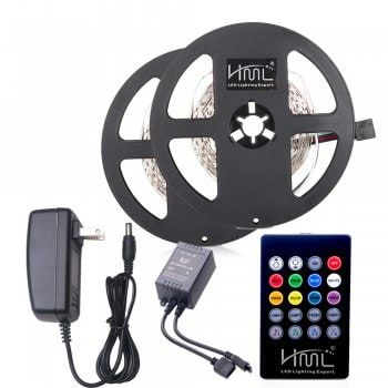 Led Light Strips With Remote Hml 2Pcs 5M 24W Rgb 2835 300 Led Strip Light  Rgb Color With Ir 20