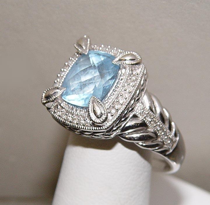 Blue Topaz Ring 14kt White Gold Diamond Accent Cocktail