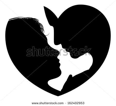 heart silhouette, couple, romantic