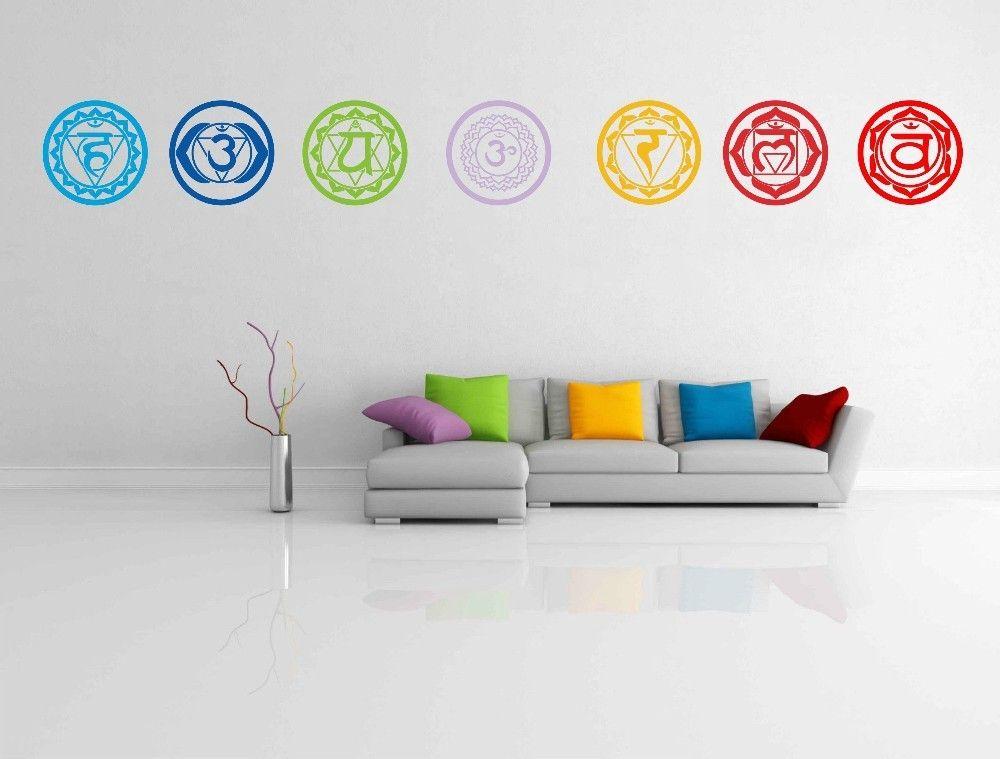 7pcs/set Chakras Vinyl Wall Stickers Mandala Yoga Om Meditation Symbol Wall Decals home decor decoration  #Yoga #Vinyl #WallDecals #WallStickers #HomeDecor #BuyOnline #MandalaMagikDeals