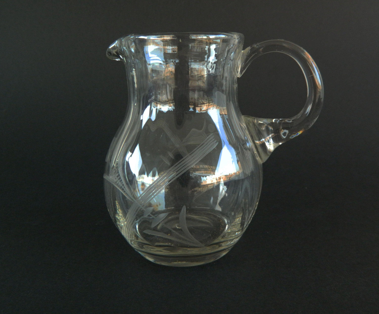 Vintage Crystal Jug Vintage Crystalware Wine Serving Jug Small Crystal Pitcher Etched Floral Design Jug Ready To Ship Vintage Crystal Crystal Decor Crystals