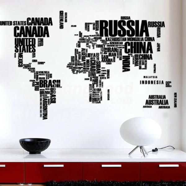Diy Large World Map Wall Decal English Alphabet Removable Wall Stickers Decal Home Decor From Home And Garden On Banggood Com World Map Wall Decal World Map Wall World Map Wall Art